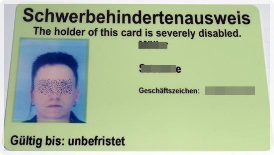 Schwerbehindertenausweis als Plastikkarte
