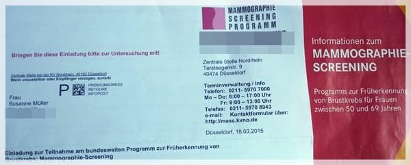 Einladung Mammografie-Screening