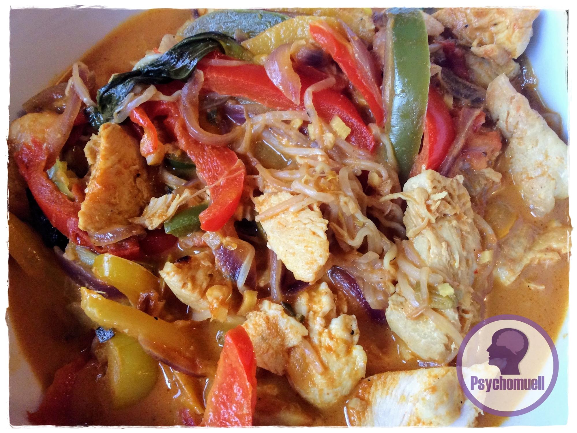Curry Geschnetzeltes mit Pak-Choi, Kokosmilch, Ingwer
