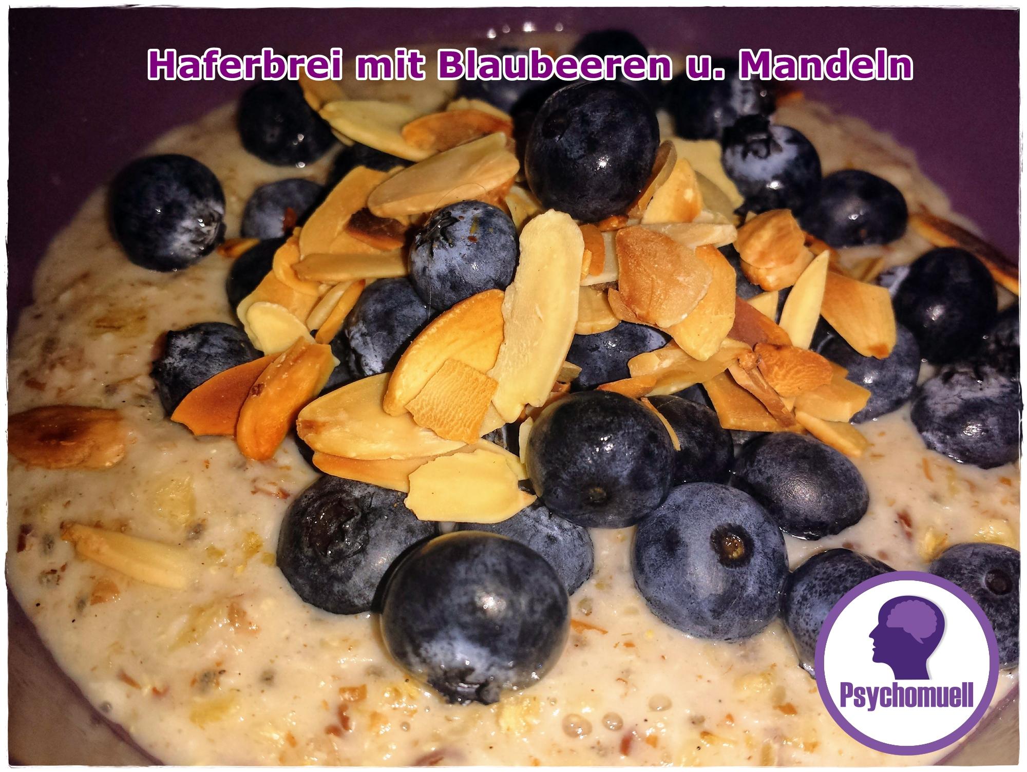 Frühstück Haferbrei mit Blaubeeren und Mandeln