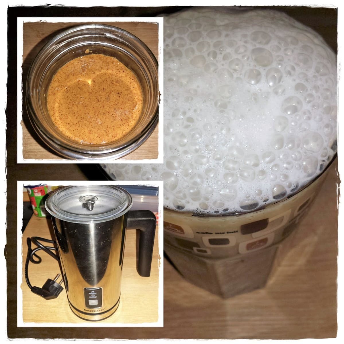 Mandel-Latte-BPC, Bullettproof Kaffee mit Mandelschaum + Mandelmus