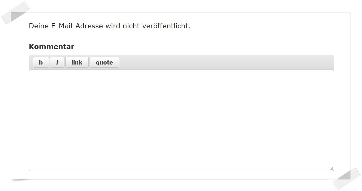 Hinweis «Deine E-Mail-Adresse wird nicht veröffentlicht» im Kommentarbereich entfernen