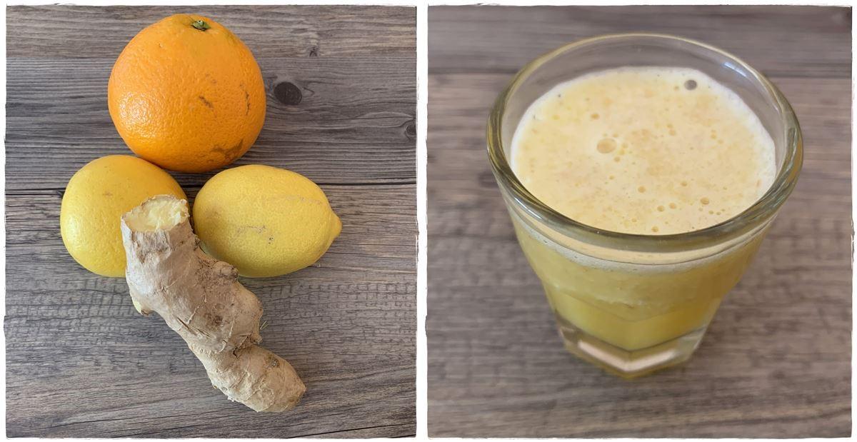 Ingwer-Shot mit Zitrone und Orange